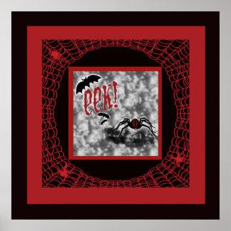 Eek!  Red & Black Halloween Spider & Web Print