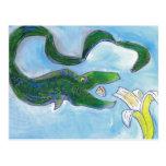 Eels eat bananas! postcards