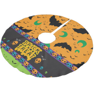 Eerie Bats and Moon Orange Green Halloween Skulls Brushed Polyester Tree Skirt