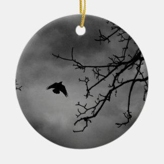 Eerie Bird in Flight Round Ceramic Decoration