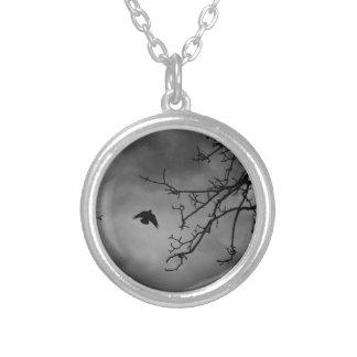 Eerie Bird in Flight Silver Plated Necklace