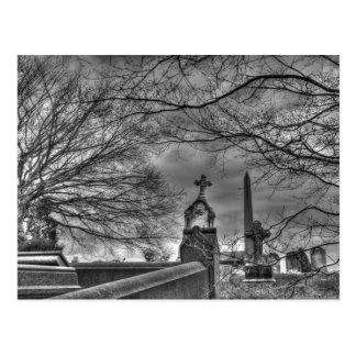 eerie graveyard postcard
