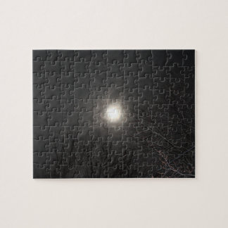 Eerie Moon In Clouds Puzzle