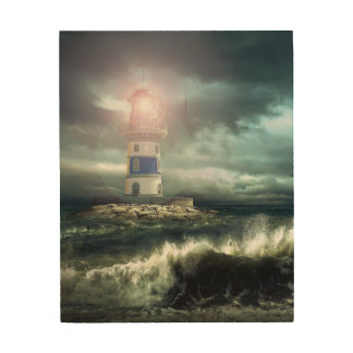Ef-lighthouse on wood wood wall decor