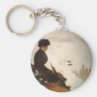 Effet de neige - Giuseppe de Nittis Basic Round Button Key Ring