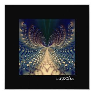 Efflorescence I · Fractal Art · Blue & Gold 13 Cm X 13 Cm Square Invitation Card
