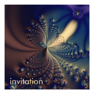 Efflorescence II · Fractal Art · Blue & Cream 13 Cm X 13 Cm Square Invitation Card