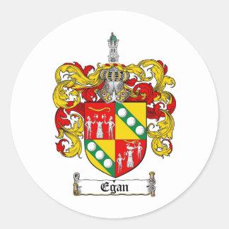 EGAN FAMILY CREST -  EGAN COAT OF ARMS ROUND STICKER