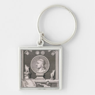 Egbert (d.839) King of the West Saxons, First Mona Silver-Colored Square Key Ring