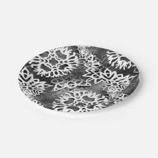 Egdy Scratchy Snowflake ! 7 Inch Paper Plate