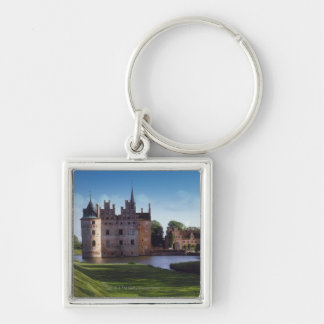 Egeskov Castle, Denmark Silver-Colored Square Key Ring