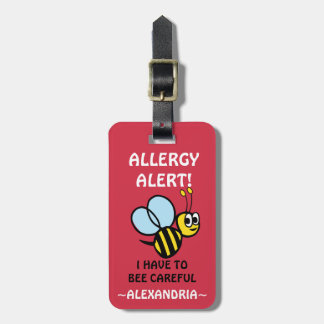 Egg Allergy Alert Bumblebee Personalized Red Luggage Tag