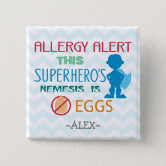 Egg Allergy Alert Superhero Boy Silhouette 15 Cm Square Badge