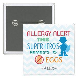 Egg Allergy Alert Superhero Boy Silhouette 15 Cm Square Badge
