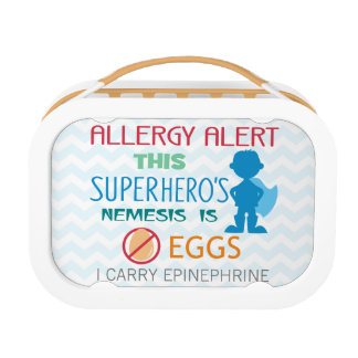 Egg Allergy Alert Superhero Boys Personalized Lunch Boxes