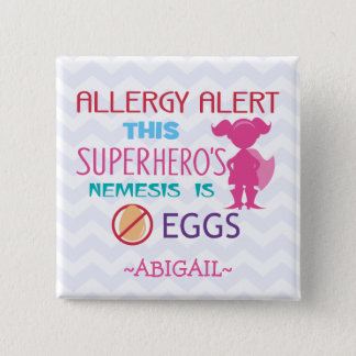 Egg Allergy Alert Superhero Girl Personalized 15 Cm Square Badge
