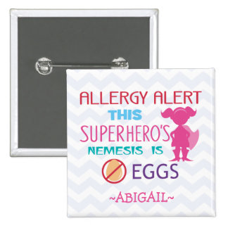 Egg Allergy Alert Superhero Girl Personalized 15 Cm Square Badge