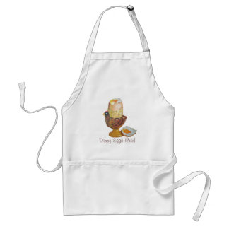 Egg and chicken egg cup with yellow dippy yoke standard apron