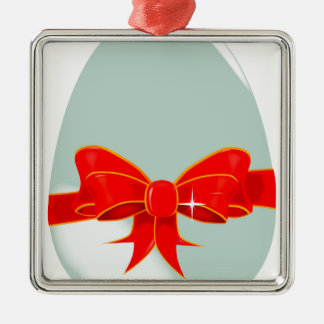 Egg and Ribbon Silver-Colored Square Decoration