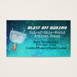 Egg beaters rocket universe stand mixer bakery business card
