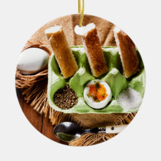 Egg for breakfast. round ceramic decoration