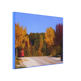 Egg Harbor, WI Fall Season with Trolley Car Stretched Canvas Print