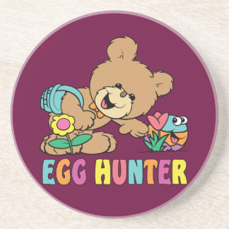 Egg Hunter Teddy Bear Sandstone Coaster Drink Coaster