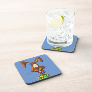 egg mad easter bunny funny cartoon drawing coaster