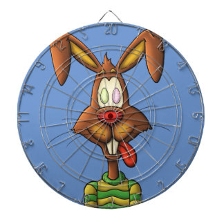 egg mad easter bunny funny cartoon drawing dartboard