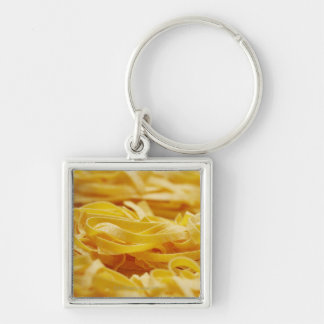 Egg Pasta, Pasta, Tagliatelle, Italian, Raw, Silver-Colored Square Key Ring