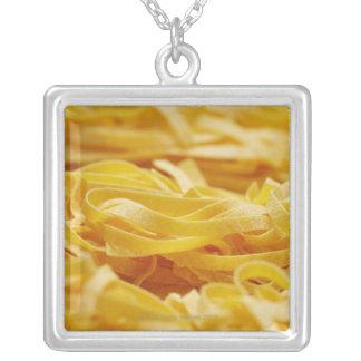Egg Pasta, Pasta, Tagliatelle, Italian, Raw, Silver Plated Necklace