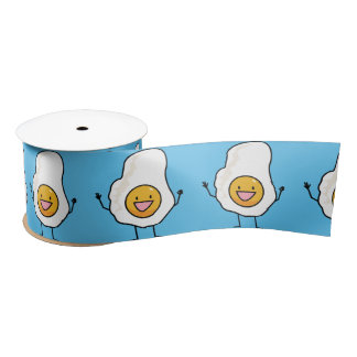 Egg Sunny-Side Up Happy Eggs Breakfast Satin Ribbon