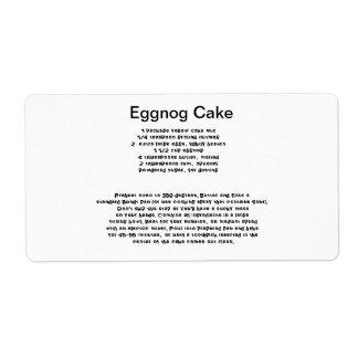 Eggnog Cake recipe labels