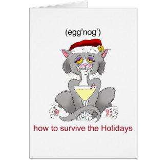 Eggnog Cat Greeting Card