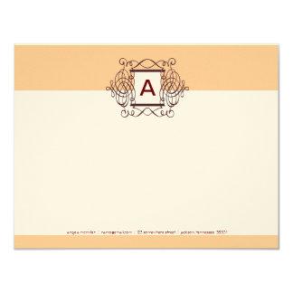 Eggnog Cherry Fancy Frame Monogram Note Cards 11 Cm X 14 Cm Invitation Card