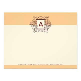 "Eggnog Cherry Fancy Frame Monogram Note Cards 4.25"" X 5.5"" Invitation Card"