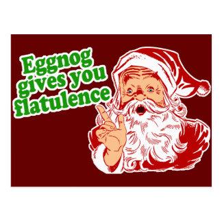Eggnog Makes Santa Fart Postcard