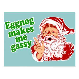 Eggnog Makes Santa Fart Post Card