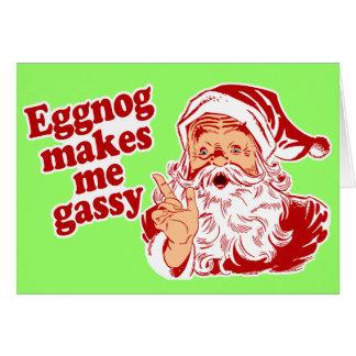 Eggnog Makes Santa Flatulent Card