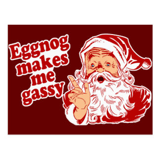 Eggnog Makes Santa Flatulent Postcard