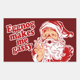 Eggnog Makes Santa Gassy Rectangular Sticker