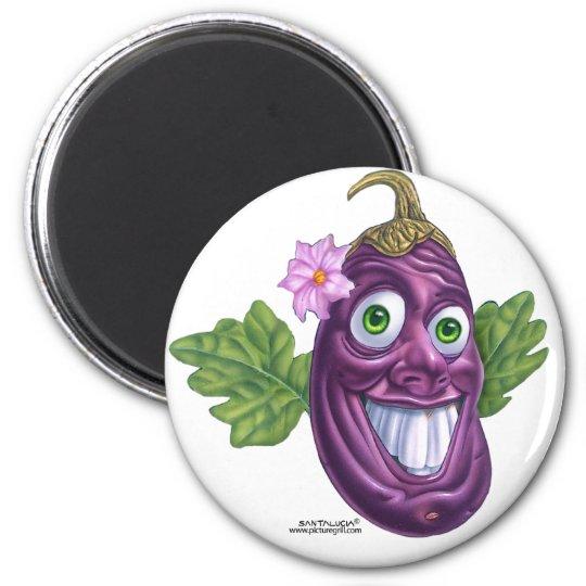 eggplant 6 cm round magnet
