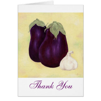 Eggplant and Garlic Thank You notecard