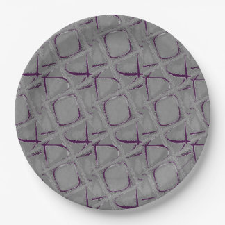 Eggplant and Gray Abstract Contemporary 9 Inch Paper Plate
