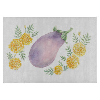Eggplant and Marigold Cutting Board