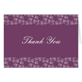 Eggplant and White Spiral Swirls Thank You Note Card