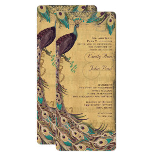 Eggplant Aqua and Gold Peacock Vintage 3 Feathers Card