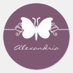 Eggplant Butterfly Swirls Stickers