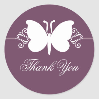 Eggplant Butterfly Swirls Thank You Stickers