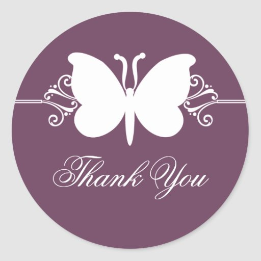 Eggplant Butterfly Swirls Thank You Stickers Round Stickers